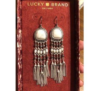Lucky Brand Marble Stone Tassels Fringe Earrings